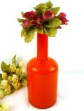 1950年代美しい:オレンジガラス♪ガラス細工が明るくて華やかなとても大きなフラワーベース
