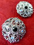 <英国コスチュームジュエリー>1960年代:光輝くクリスタル♪透かし細工が美しいお花のイヤリング