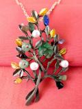 1950年代:アメジストとラインストーンの木の葉♪美しいアートフルなお花の2WAYネックレス