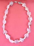 1950年代:ピンク色の優雅な輝き♪素晴らしく大粒のローズクォーツと淡水パールのネックレス