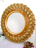 <英国ビンテージ>華やかなヴィクトリアンデザイン♪金色に輝くとてもとても大きなラウンドミラー