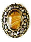 <英国コスチュームジュエリー>1950年代:キラキラ輝くクリスタルガラス♪大きくて立体的なヨーロピアンガラスのブローチ