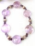 1960年代:大粒ローズクォーツとアメジスト♪ピンクと紫の輝きがきれいなブレスレッド