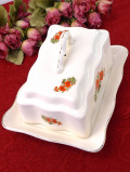 <ルーマニア製>1930年代:オレンジ色のお花たちが咲いた大きなチーズディッシュ