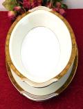 <ノリタケ:レア♪>1960年代:「GOLDKIN」貴重な金彩のお花たち♪金色に輝く豪華でとても大きなボウル&ソーサー