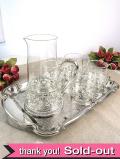 シルバープレートのすかし細工が美しい♪豪華な英国ビンテージのジャグ&グラス「6点セット」