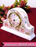 【30日間保証付】<ウェッジウッド>可憐なバラの実♪「ROSEHIP」の優雅で大きな陶器の置時計