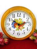 【30日間保証付】1960年代:ロマンチックな果実たち♪カントリーなまあるい木製の壁掛け時計