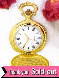 【30日間保証付】1960年代:立体的な細工が優雅ないぶし金の懐中時計「お箱付」