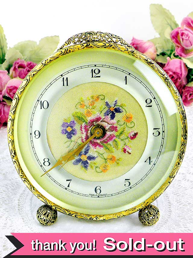 【30日保証】<英国プチポアン>1930年代:ピンクのバラたちが優しい大きめの置時計「OH済」