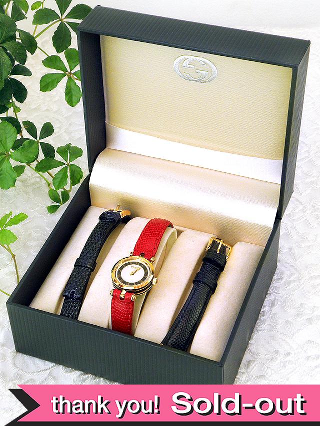 【365日保証:デッドストック品】<GUCCI>1980年代:ビンテージのグッチ♪ステキな女性用の腕時計「OH済:お箱付」