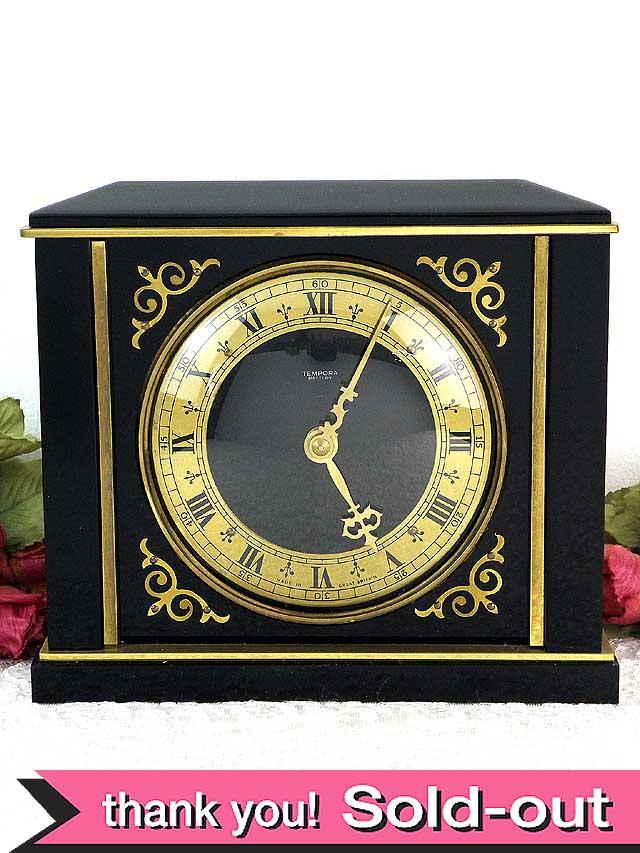 1960年代:英国ゴールド&ブラック♪とても豪華などっしりとした存在感のヴィンテージの置時計