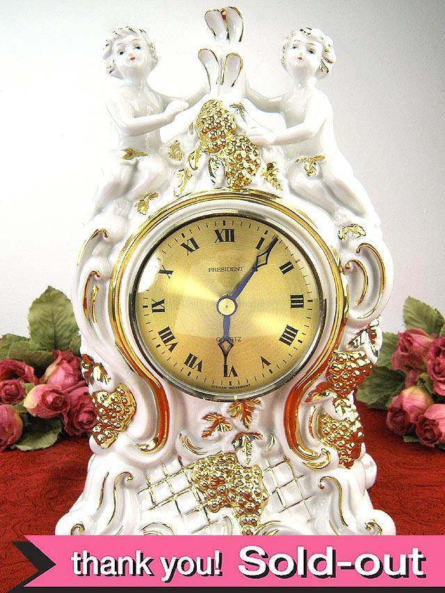金彩が美しい天使たちのとても豪華な陶器の英国ヴィンテージの置時計