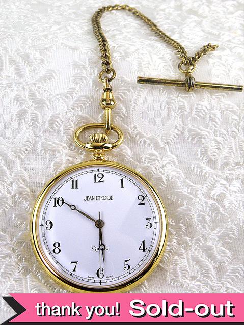 【30日間保証付】<JEAN PIERRE>1960年代:金色チェーンが優雅なスイスの懐中時計