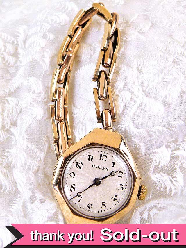 【365日保証付】<ROLEX>1920年代:とても貴重で珍しいアンティークロレックスの9金無垢のブレスレッド腕時計