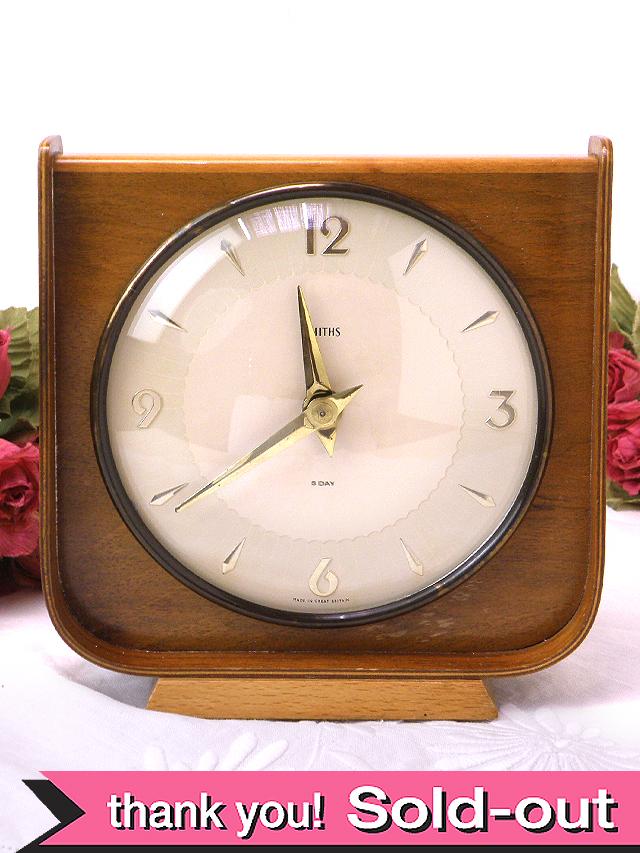 【30日保証付】<スミスの時計>1950年代:木工細工が美しいSMITHSの置時計