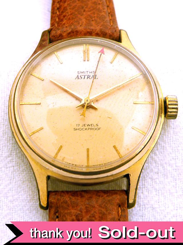 【365日保証付】<スミスの時計>1950年代:シャンパンゴールドの17石のSMITHSの機械式腕時計「アストラル」