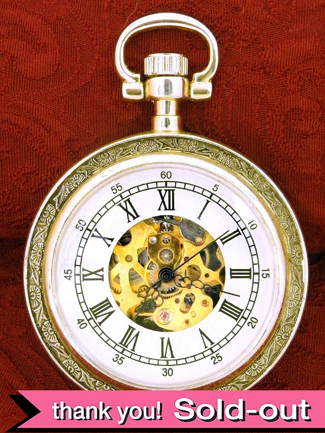 【30日間保証付】1960年代:珍しいスケルトン♪上品で貴重な懐中時計