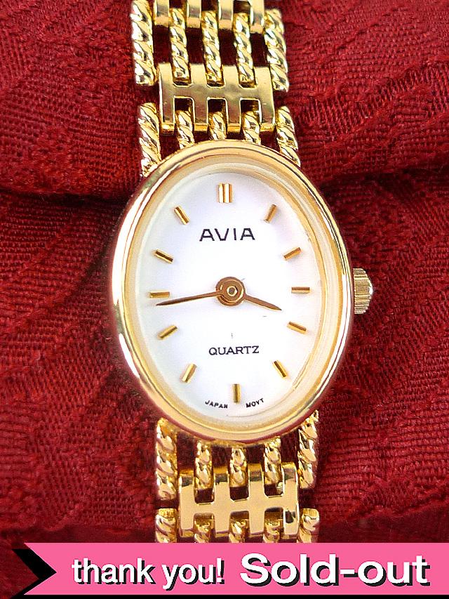 【30日保証付】<AVIA>1970年代:とても貴重で珍しいAVIA 社の女性用のクォーツ式腕時計