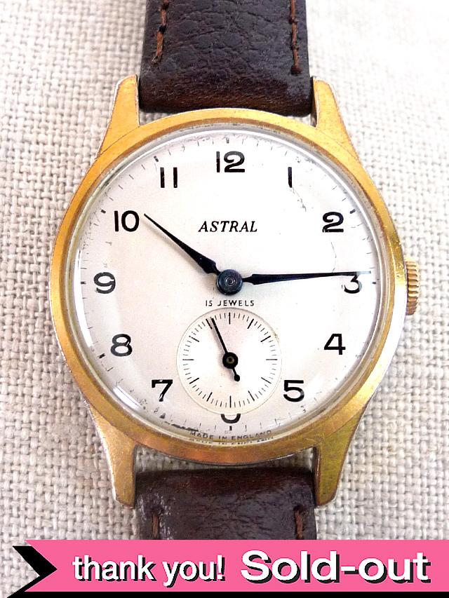 【365日保証付】<スミスの時計>1950年代:「アストラル」シャンペンゴールドの15石のSMITHSの機械式腕時計