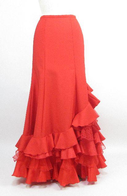 ★ファルダ★FB-15-RED  赤無地 異素材ミックス スカート W63