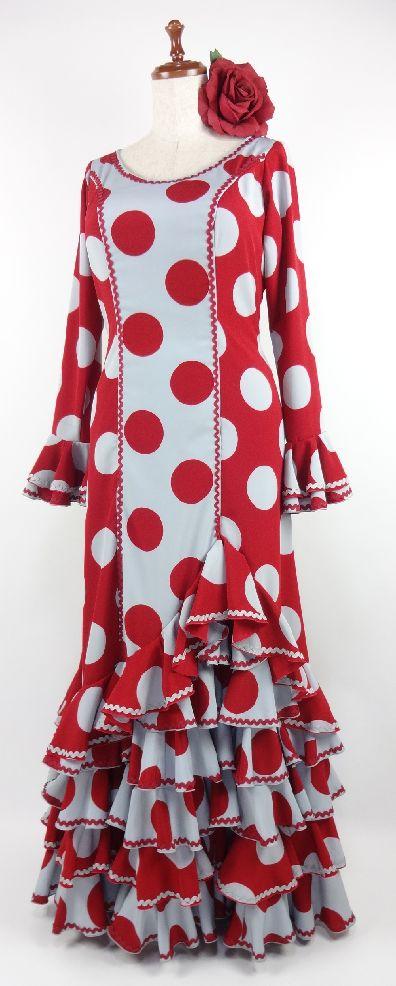 ★セール★フラメンコ衣装・ワンピース・赤・グレー水玉・LL・G1410