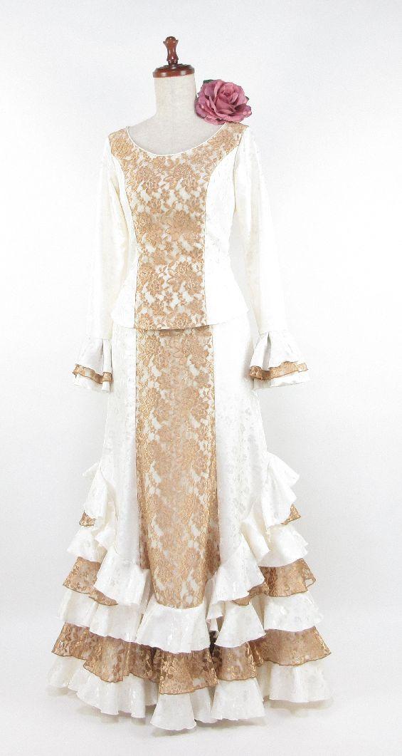 ★オーダー衣装★ G1432-W  エレーナ・ホワイト・ツーピース・白&ベージュ