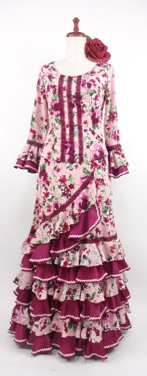 ★セール★G1503  フラメンコ衣装 ツーピース ピンク×ボルドー花柄  Mサイズ  B93W74