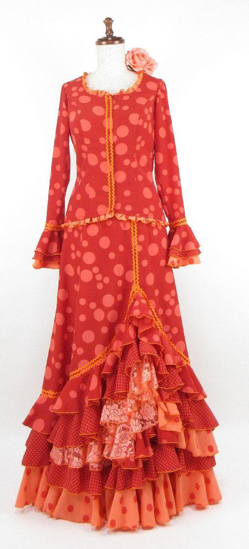 ★セール★G1506-R・マルガリータ・アレンジ・既製品ツーピース・赤×サーモン水玉 B88W70