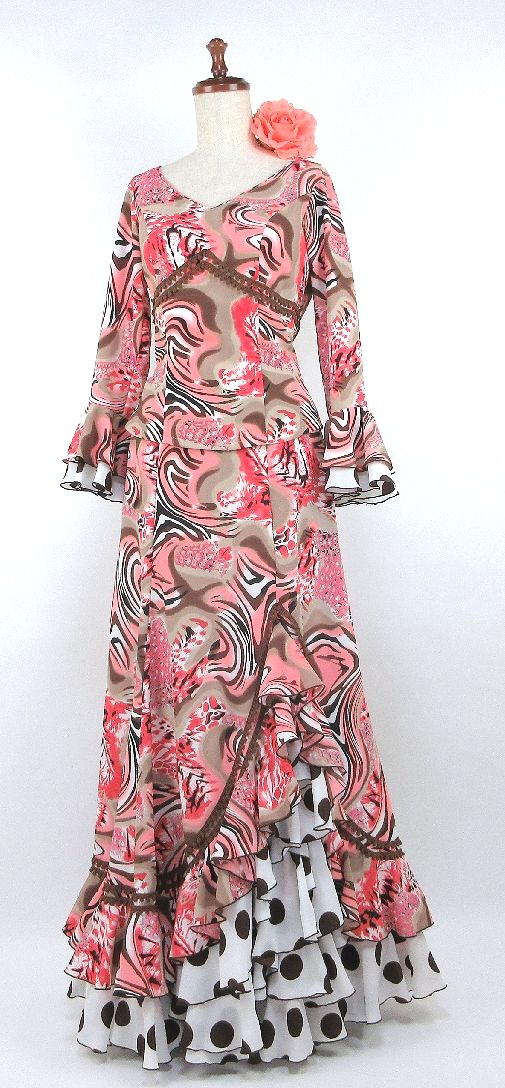 ★G1509 フラメンコ衣装 ツーピース ピンク系柄  B93W74
