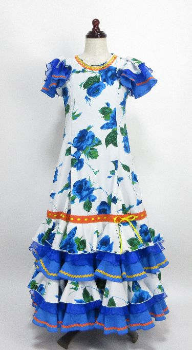 レンタル★RE-16 フラメンコ用 ワンピース衣装 白×青花柄 130サイズ 子供用