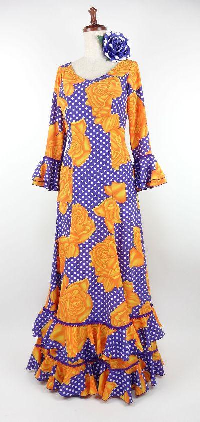★特価セール★TK10-145 フラメンコ衣装・ワンピース・紫×オレンジ花柄 B88W70