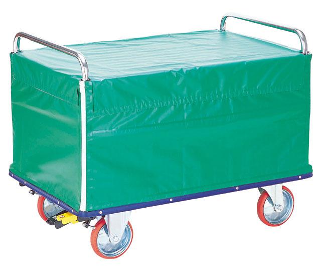 スチール上蓋・シートカバー付金網台車(特大)NK-507KB 荷台寸法W1,210xD760