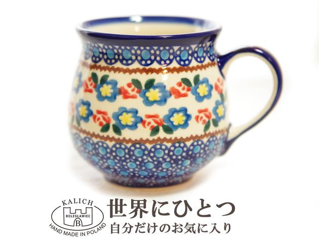 151102ポーリッシュポタリー マグカップ ポーランド陶器 KALICH カリヒ バラと青いお花柄マグ