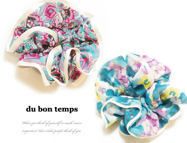 170301シュシュ パイピングふんわりシフォンのボリューミーシュシュ ヘアゴム ボヘミアン花柄 全2カラー