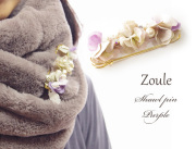 161205ショールピン ストールピン zouleゾーラ 立体的なお花立体的なお花とコットンパール&ビジュー パープル