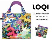 170402エコバッグ LOQIローキー ブランド 折り畳み 鳥柄&お花柄 Artists Collection  SHINPEI NAITO Dancing Birds