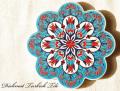 141108Artnicea トルコタイル花型鍋敷き チューリップ&カーネーション ターコイズブルー