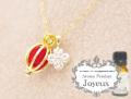 150706アロマペンダントネックレス 『Joyeux ジョワイユ』 グリッターフラワー アロマボール3個付き