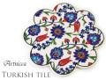 160701トルコタイル 鍋敷き 花型 Artnicea KUTAHYA デザインプレート チューリップ&ボタニカル 044