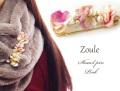 161206ショールピン ストールピン zouleゾーラ 立体的なお花とコットンパール&ビジュー ピンク