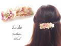 161209バレッタ 髪留め ヘアアクセサリー zouleゾーラ 立体的なお花 立体的なお花とコットンパール&ビジュー ピンク