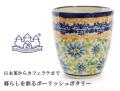 161215ポーリッシュポタリー 陶器 湯呑み バルマグ 持ち手なしマグカップ ザクワディ ZAKTADY 青いお花柄 ブルーフラワー