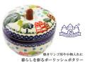 161217ポーリッシュポタリー 陶器 りんごポット 焼きリンゴ 小物入れ ザクワディ ZAKTADY  お家柄 街並み柄