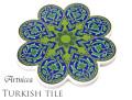 170104トルコタイル 鍋敷き 花型 Artnicea KUTAHYA デザインプレート オスマントルコ調ボタニカル グリーン146