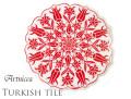 170211トルコタイル 鍋敷き 花型 Artnicea KUTAHYA デザインプレート 赤いチューリップ&カーネーション ホワイト 144