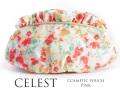 170408コスメポーチ 化粧ポーチ 花柄 水彩フラワー Celesteセレスト フリル付コスメポーチ ピンク