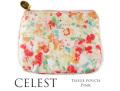 170410ティッシュポーチ 小物入れ 花柄 水彩フラワー Celesteセレスト フリル付ティッシュポーチ ピンク
