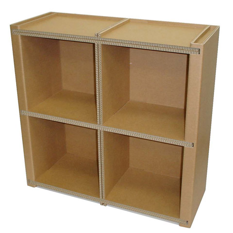 強化ダンボール製本棚本箱モナカスクエア2×2