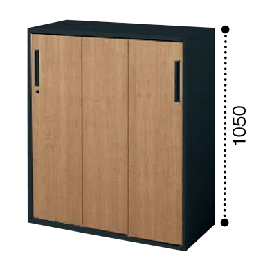 コクヨ KOKUYO エディア EDIA 3枚引き違い戸 下置き ベース必要書庫 木目タイプ 本体色ブラック W800*D400*H1050 BWU-HD358SF6EP2/BWU-HD358SF6EG5